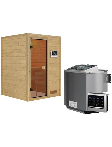 WOODFEELING Sauna »Svenja«, inkl. 9 kW Bio-Kombi-Saunaofen mit externer Steuerung für 3 Personen