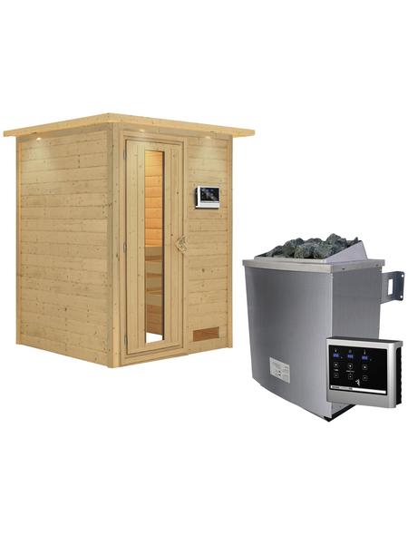 WOODFEELING Sauna »Svenja«, inkl. 9 kW Saunaofen mit externer Steuerung für 3 Personen