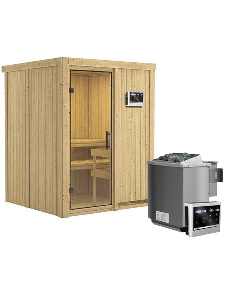 KARIBU Sauna »Tallinn«, BxTxH: 151 x 151 x 151 cm, 9 kw, Bio-Kombi-Saunaofen, ext. Steuerung