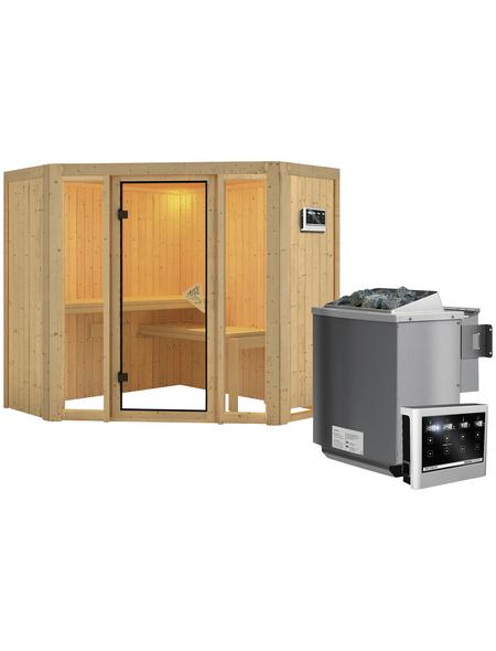 KARIBU Sauna »Tapa 1«, inkl. 9 kW Bio-Kombi-Saunaofen mit externer Steuerung für 3 Personen