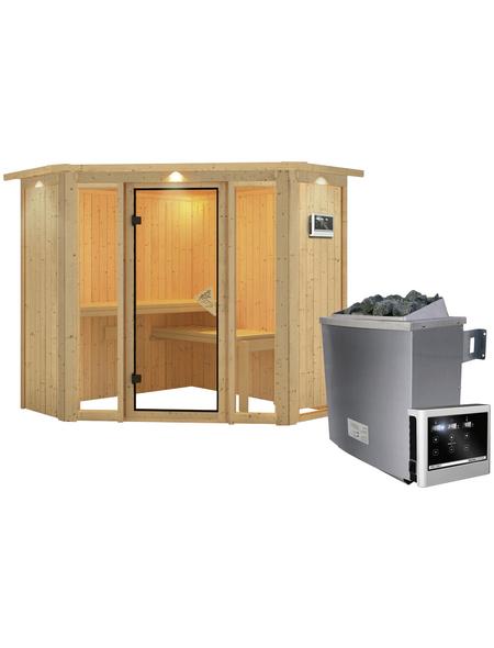 KARIBU Sauna »Tapa 1«, inkl. 9 kW Saunaofen mit externer Steuerung für 3 Personen