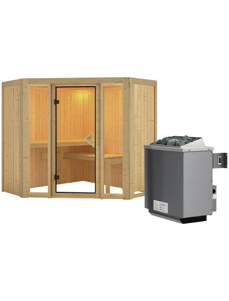 KARIBU Sauna »Tapa 1«, inkl. 9 kW Saunaofen mit integrierter Steuerung für 3 Personen