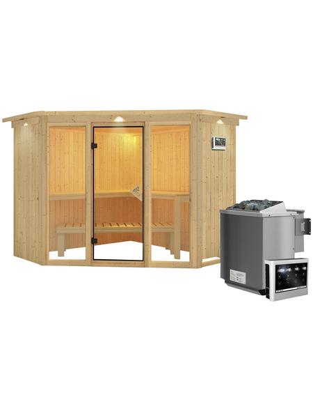 KARIBU Sauna »Tapa 2«, inkl. 9 kW Bio-Kombi-Saunaofen mit externer Steuerung für 4 Personen