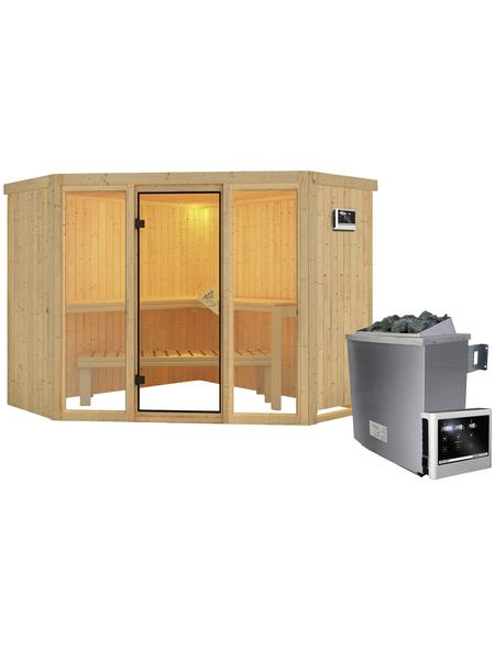 KARIBU Sauna »Tapa 2«, inkl. 9 kW Saunaofen mit externer Steuerung für 4 Personen