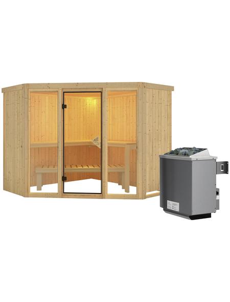 KARIBU Sauna »Tapa 2«, inkl. 9 kW Saunaofen mit integrierter Steuerung für 4 Personen