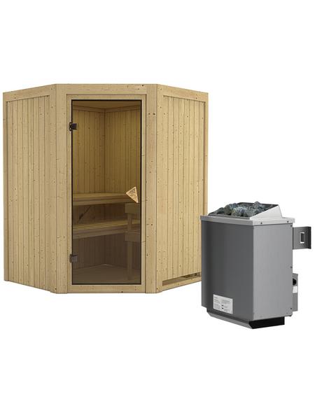 KARIBU Sauna »Tartu«, BxTxH: 151 x 151 x 151 cm, 9 kw, Saunaofen, int. Steuerung