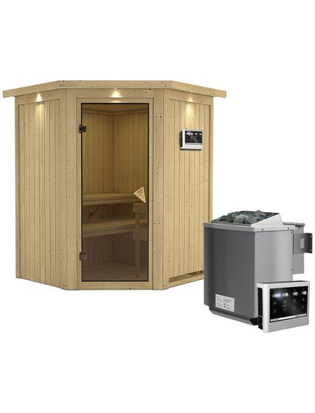 KARIBU Sauna »Tartu«, BxTxH: 165 x 165 x 165 cm, 9 kw, Bio-Kombi-Saunaofen, ext. Steuerung