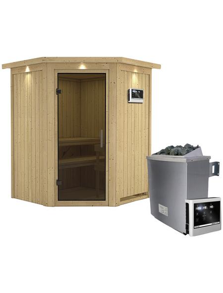 KARIBU Sauna »Tartu«, BxTxH: 165 x 165 x 165 cm, 9 kw, Saunaofen, ext. Steuerung
