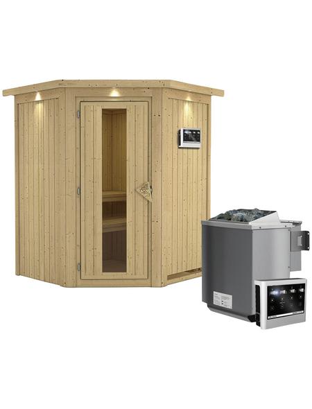 KARIBU Sauna »Tartu«, inkl. 9 kW Bio-Kombi-Saunaofen mit externer Steuerung für 3 Personen