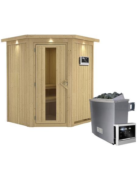 KARIBU Sauna »Tartu«, inkl. 9 kW Saunaofen mit externer Steuerung für 3 Personen