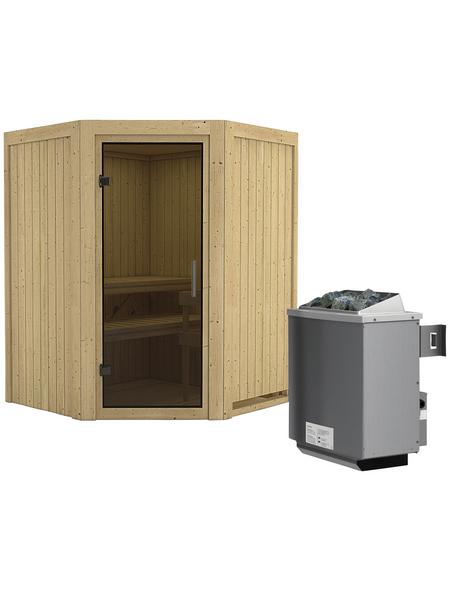 KARIBU Sauna »Tartu«, inkl. 9 kW Saunaofen mit integrierter Steuerung für 3 Personen