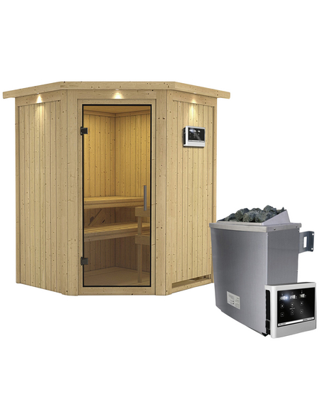 KARIBU Sauna »Tartu«, mit Ofen, externe Steuerung