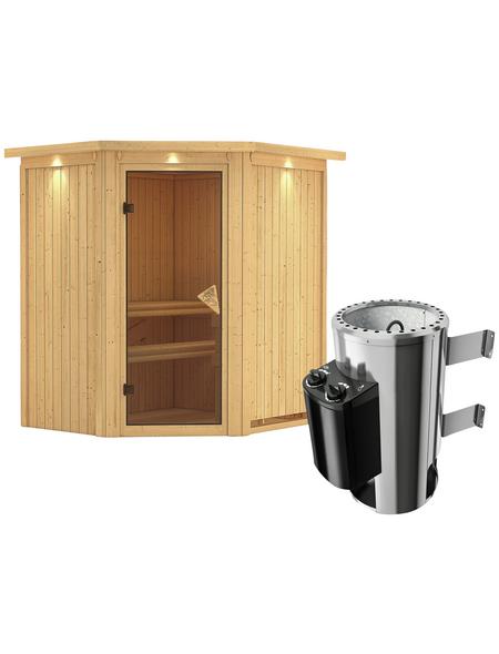 KARIBU Sauna »Tuckum«, BxTxH: 184 x 165 x 165 cm, 3,6 kw, Plug&Play-Saunaofen, int. Steuerung