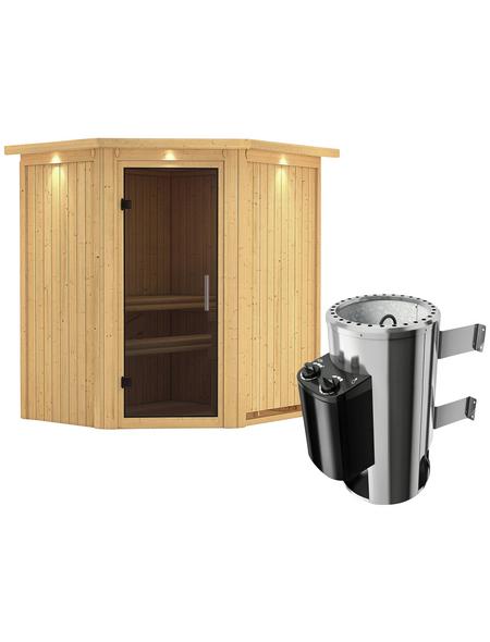 KARIBU Sauna »Tuckum«, inkl. 3.6 kW Plug&Play-Saunaofen mit integrierter Steuerung für 3 Personen