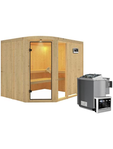 KARIBU Sauna »Türi«, inkl. 9 kW Bio-Kombi-Saunaofen mit externer Steuerung für 4 Personen