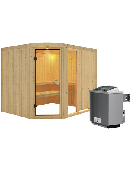 KARIBU Sauna »Türi«, inkl. 9 kW Saunaofen mit integrierter Steuerung für 4 Personen