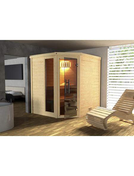 WEKA Sauna »Turku«, inkl. 7.5 kW Bio-Kombi-Saunaofen mit externer Steuerung für 2 Personen