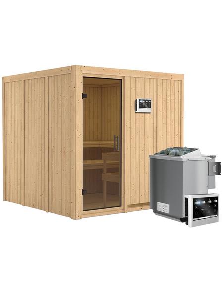 KARIBU Sauna »Valga«, inkl. 9 kW Bio-Kombi-Saunaofen mit externer Steuerung für 3 Personen