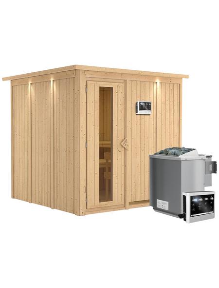 KARIBU Sauna »Valga«, inkl. 9 kW Bio-Kombi-Saunaofen mit externer Steuerung für 4 Personen