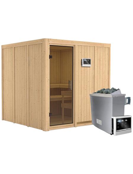 KARIBU Sauna »Valga«, inkl. 9 kW Saunaofen mit externer Steuerung für 4 Personen