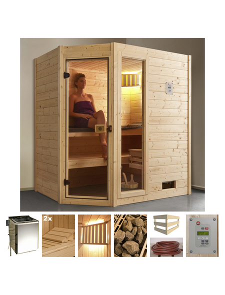 WEKA Sauna »Valida Eck 1«, BxTxH: 189 x 139 x 139 cm, 4,5 kw, Plug&Play-Saunaofen, ext. Steuerung