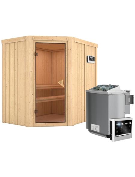 KARIBU Sauna »Vijandi«, inkl. 9 kW Bio-Kombi-Saunaofen mit externer Steuerung für 3 Personen