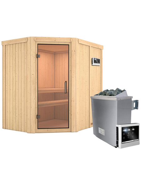 KARIBU Sauna »Vijandi«, inkl. 9 kW Saunaofen mit externer Steuerung für 3 Personen