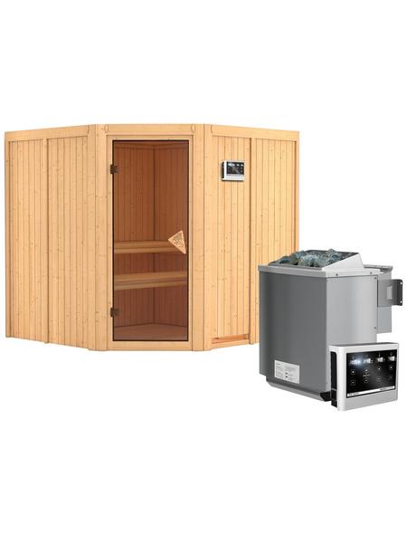 KARIBU Sauna »Vöru«, inkl. 9 kW Bio-Kombi-Saunaofen mit externer Steuerung für 4 Personen