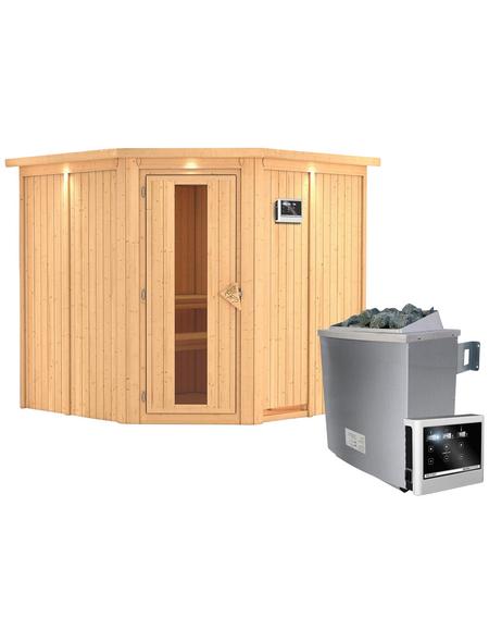 KARIBU Sauna »Vöru«, inkl. 9 kW Saunaofen mit externer Steuerung für 4 Personen