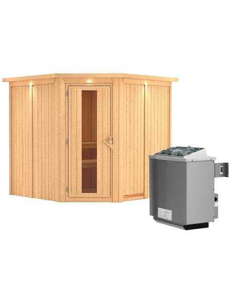 KARIBU Sauna »Vöru«, inkl. 9 kW Saunaofen mit integrierter Steuerung für 4 Personen