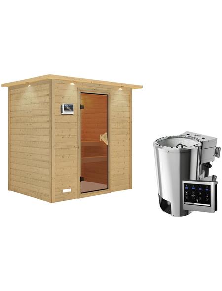 KARIBU Sauna »Welonen«, BxTxH: 224 x 160 x 160 cm, 3,6 kw, Plug&Play-Saunaofen, ext. Steuerung