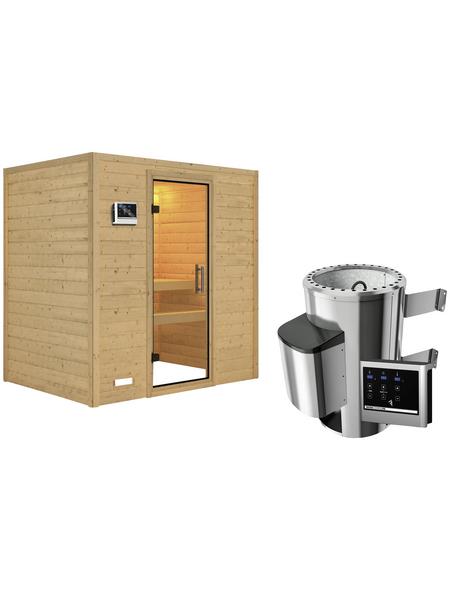 KARIBU Sauna »Welonen«, inkl. 3.6 kW Plug&Play-Saunaofen mit externer Steuerung für 3 Personen
