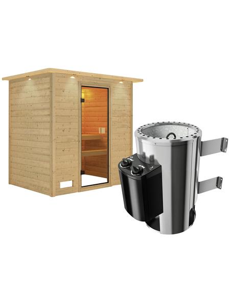 KARIBU Sauna »Welonen«, inkl. 3.6 kW Plug&Play-Saunaofen mit integrierter Steuerung für 3 Personen