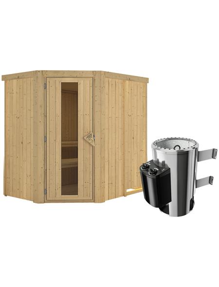 KARIBU Sauna »Wenden«, inkl. 3.6 kW Plug&Play-Saunaofen mit integrierter Steuerung für 3 Personen