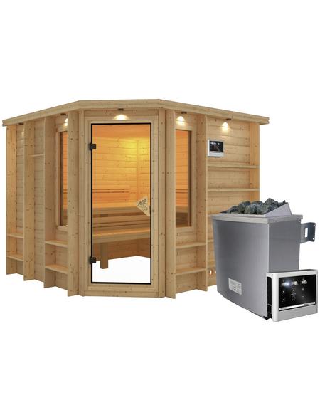KARIBU Sauna »Windau«, BxTxH: 264 x 253 x 253 cm, 9 kw, Saunaofen, ext. Steuerung