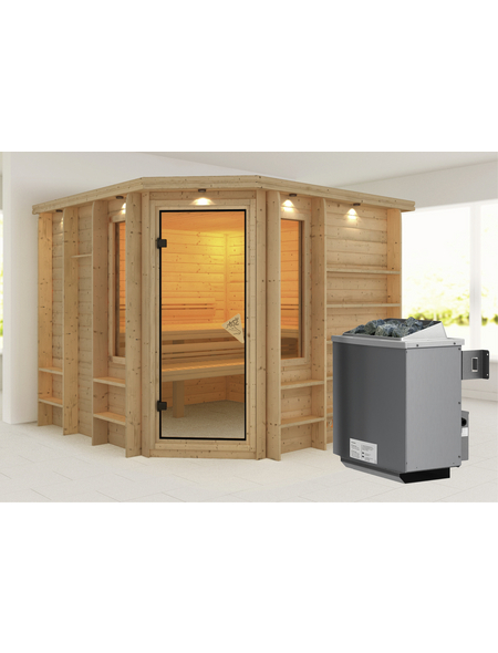 KARIBU Sauna »Windau«, BxTxH: 264 x 253 x 253 cm, 9 kw, Saunaofen, int. Steuerung