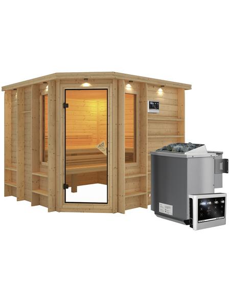 KARIBU Sauna »Windau«, inkl. 9 kW Bio-Kombi-Saunaofen mit externer Steuerung für 4 Personen