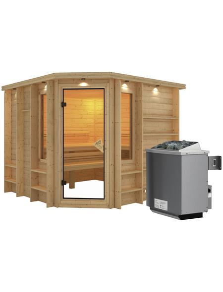 KARIBU Sauna »Windau«, inkl. 9 kW Saunaofen mit integrierter Steuerung für 4 Personen