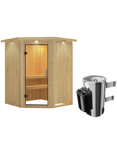 KARIBU Sauna »Wolmar«, BxTxH: 165 x 165 x 165 cm, 3,6 kw, Plug&Play-Saunaofen, int. Steuerung