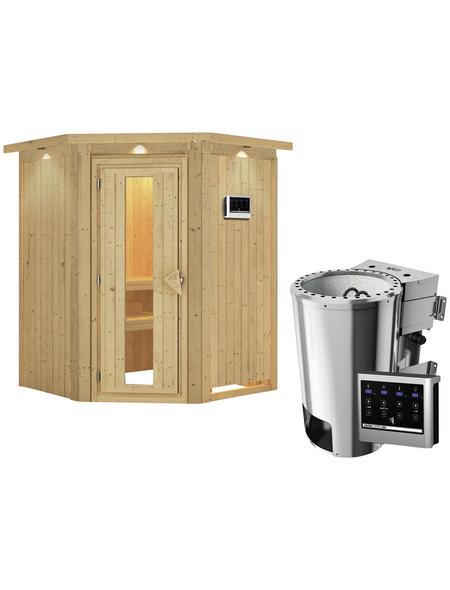 KARIBU Sauna »Wolmar«, inkl. 3.6 kW Plug&Play-Saunaofen mit externer Steuerung für 3 Personen