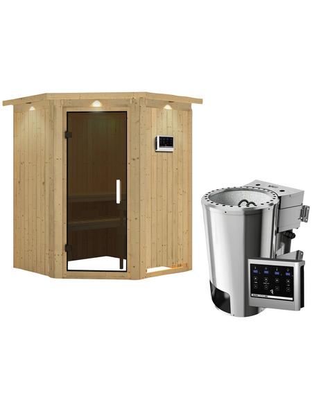 KARIBU Sauna »Wolmar«, mit Ofen, externe Steuerung