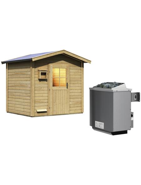 WOODFEELING Saunahaus »Birka 1«, BxTxH: 231 x 196 x 235 cm, 9 kW Ofen mit int. Steuerung