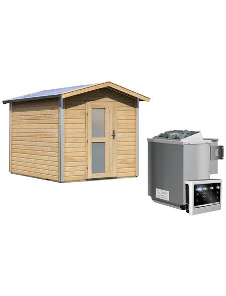 KARIBU Saunahaus »Goldingen«, BxTxH: 231 x 273 x 235 cm, 9 kW Bio-Kombi-Ofen mit ext. Steuerung