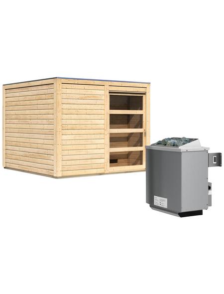 KARIBU Saunahaus »Kandau«, BxTxH: 276 x 276 x 210 cm, 9 kW Ofen mit int. Steuerung