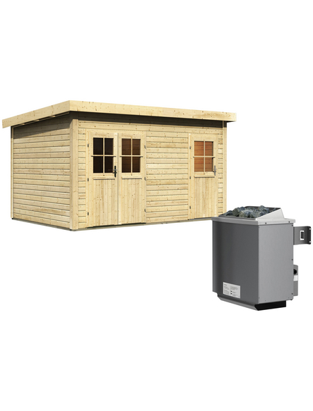 WOODFEELING Saunahaus »Niska«, BxTxH: 426 x 276 x 238 cm, 9 kW Ofen mit int. Steuerung