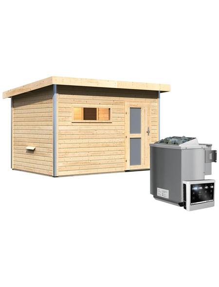 KARIBU Saunahaus »Schwanenburg 2«, BxTxH: 337 x 231 x 239 cm, 9 kW Bio-Kombi-Ofen mit ext. Steuerung