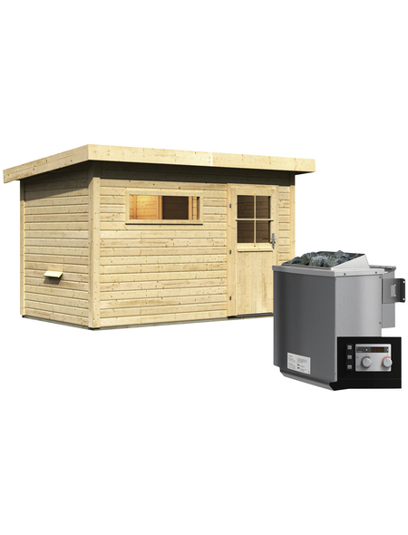 WOODFEELING Saunahaus »Suva 1«, BxTxH: 337 x 196 x 228 cm, 9 kW Bio-Kombi-Ofen mit ext. Steuerung