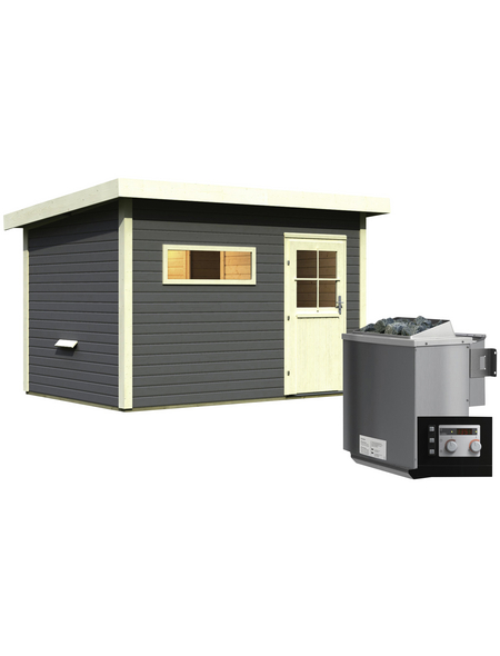 WOODFEELING Saunahaus »Suva 2«, BxTxH: 337 x 231 x 239 cm, 9 kW Bio-Kombi-Ofen mit ext. Steuerung
