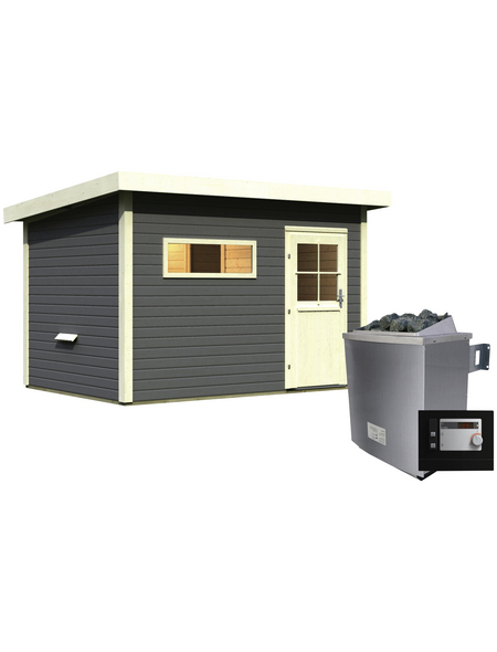 WOODFEELING Saunahaus »Suva 2«, BxTxH: 337 x 231 x 239 cm, 9 kW Ofen mit ext. Steuerung