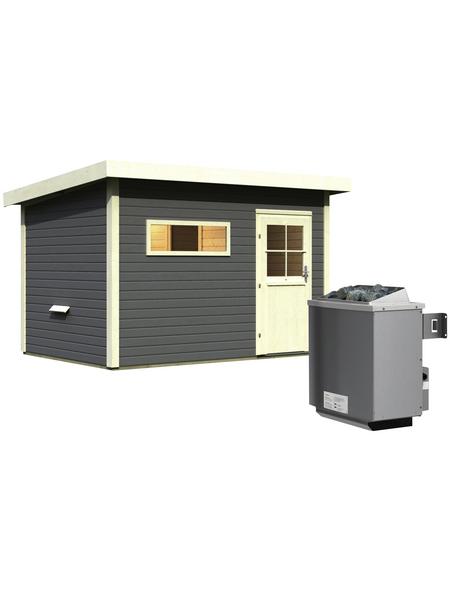 WOODFEELING Saunahaus »Suva 2«, BxTxH: 337 x 231 x 239 cm, 9 kW Ofen mit int. Steuerung